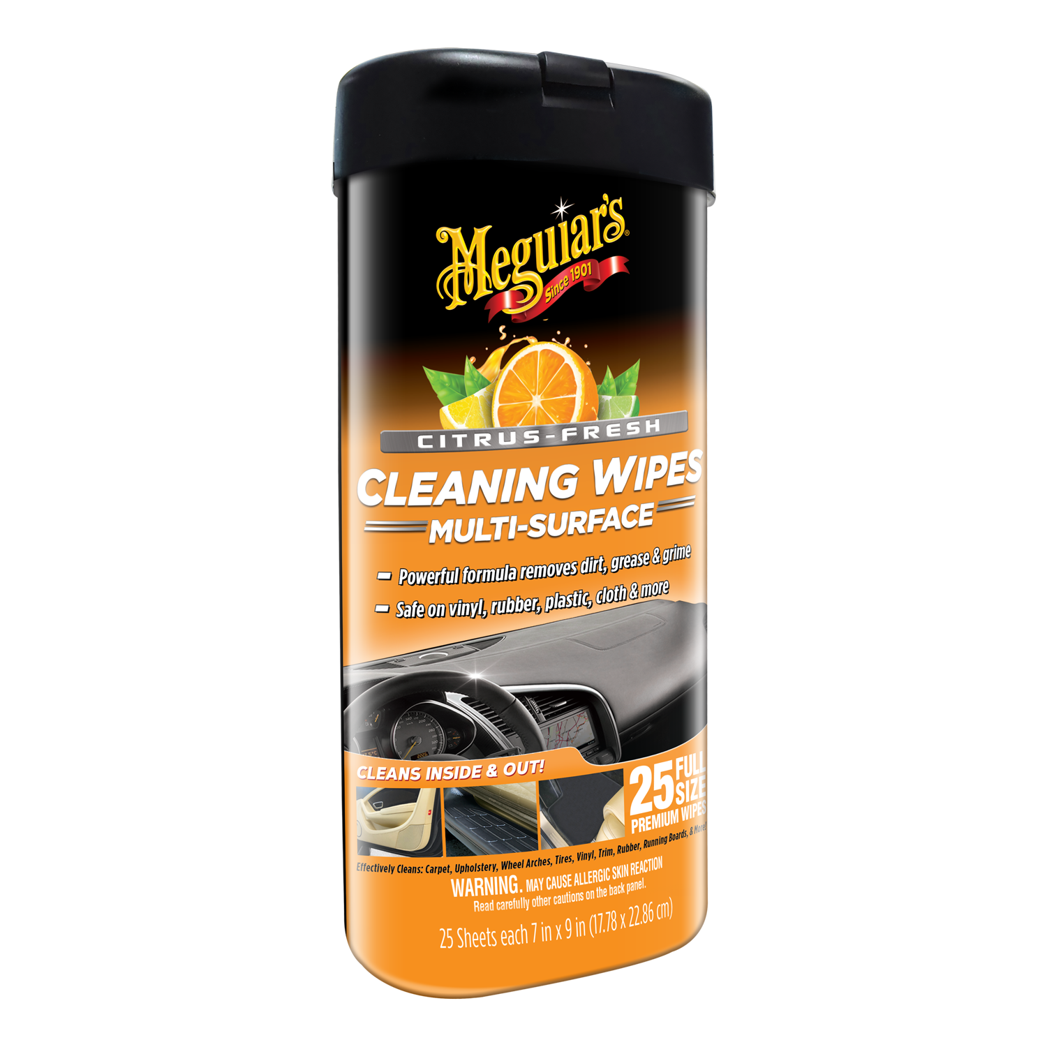 Meguiar's Citrus-Fresh Cleaning Wipes – Interior & Exterior Car Cleaning Wipes - G190600, 25 Wipes
