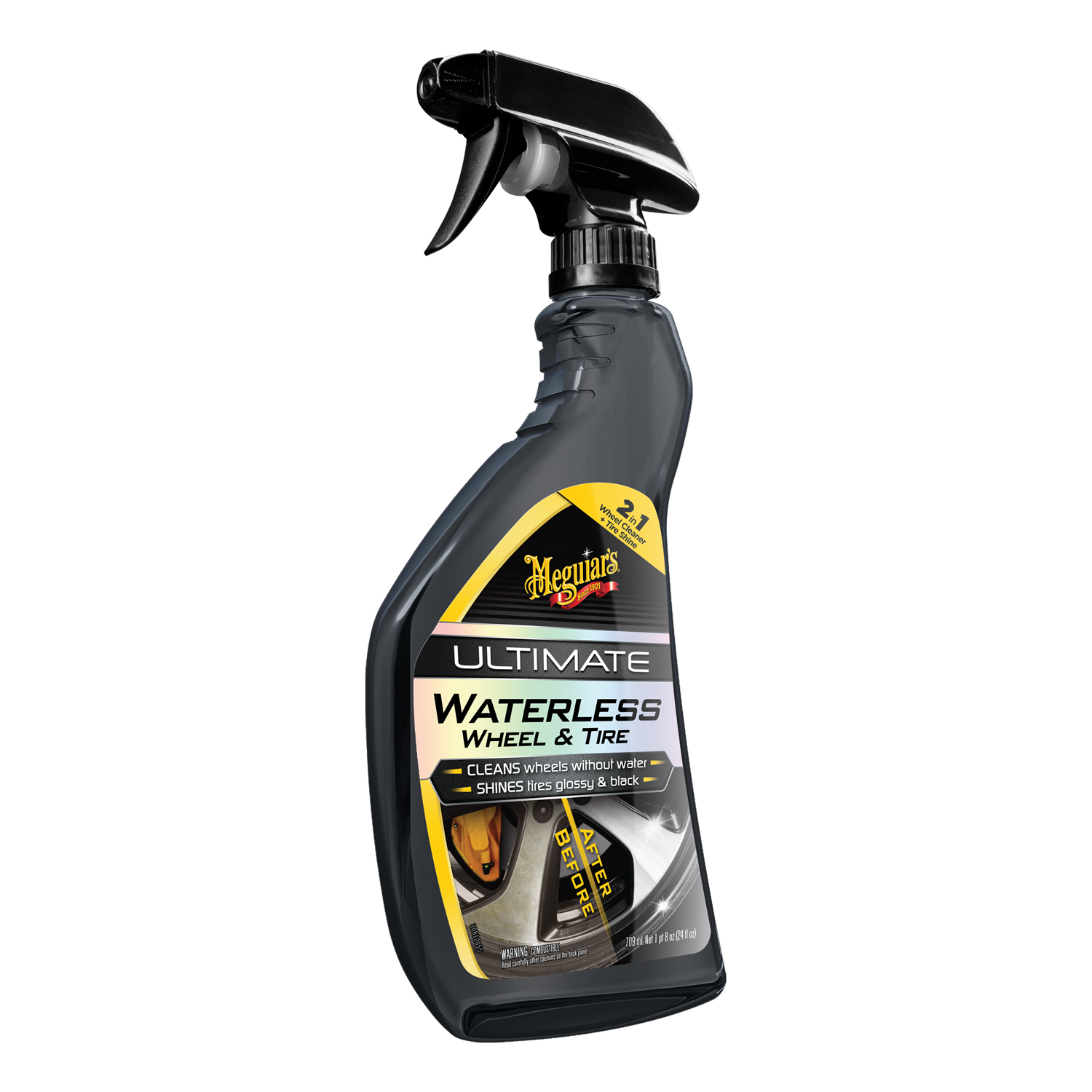 Meguiar's® Ultimate Waterless Wheel & Tire – Wheel Cleaner & Tire Dressing in One - G190424, 24 oz